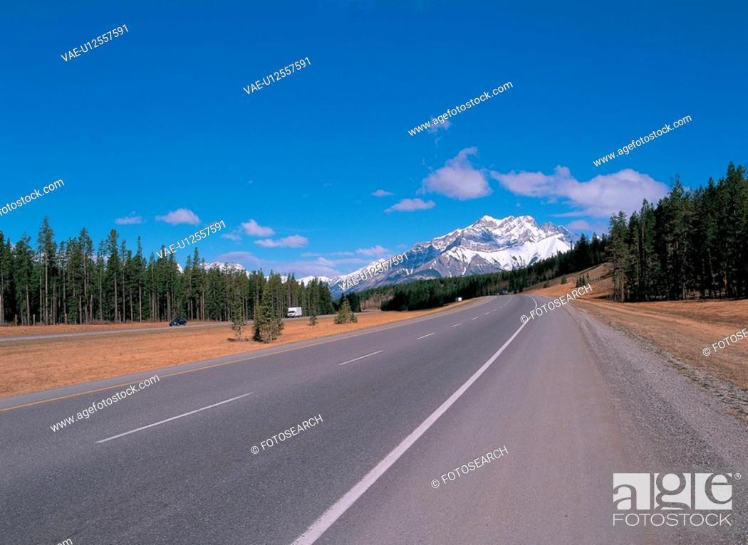 Stock Photo: scenery, highway, landscape, sky, truck, scenic, road.