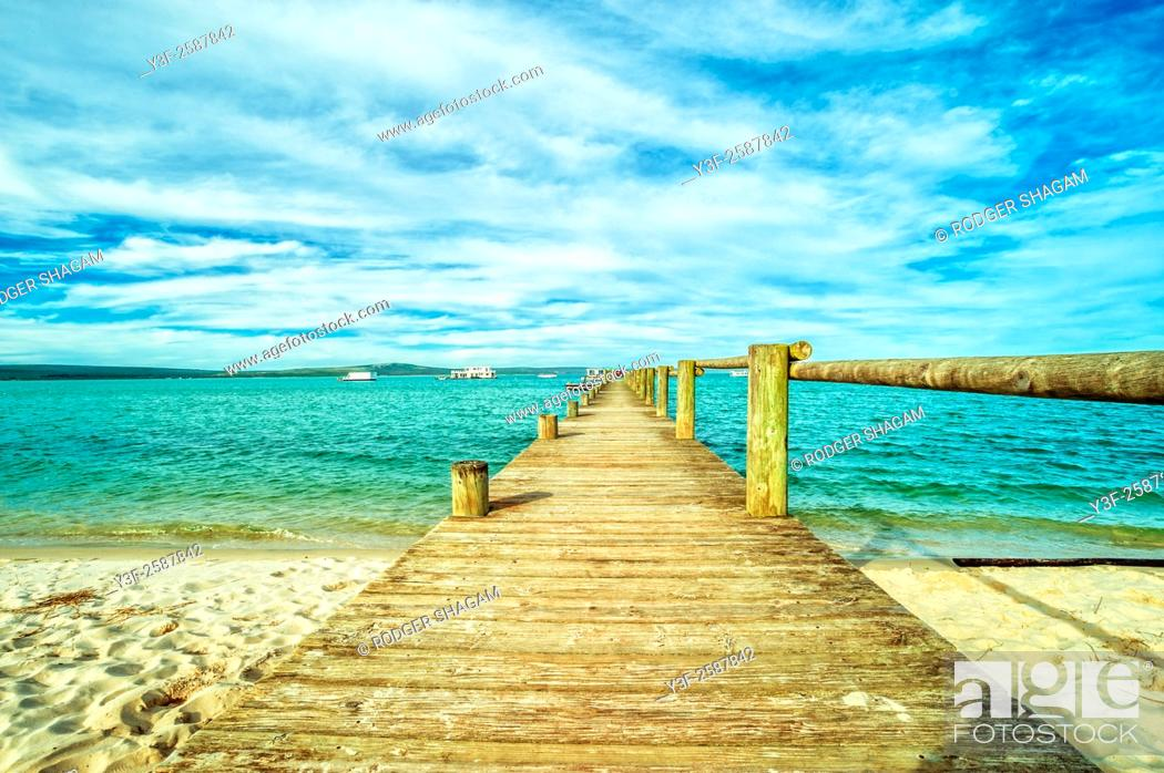 Stock Photo: Wooden Jetty at Church Haven. Western Cape Province, South Africa.