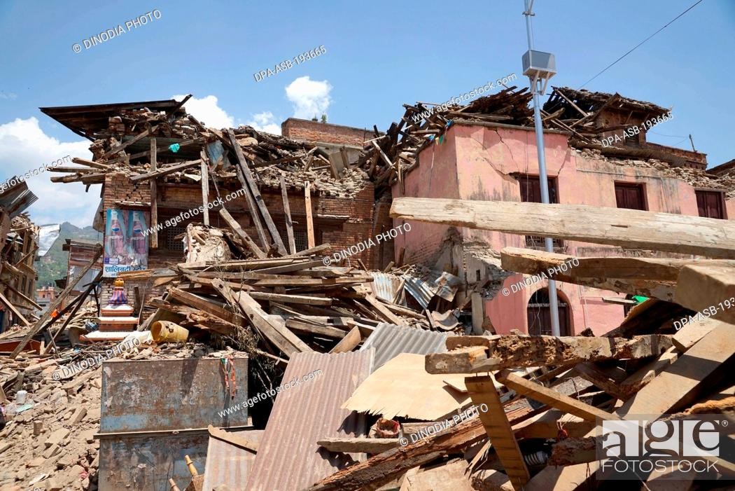 Imagen: Residential building collapsed, nepal, asia.