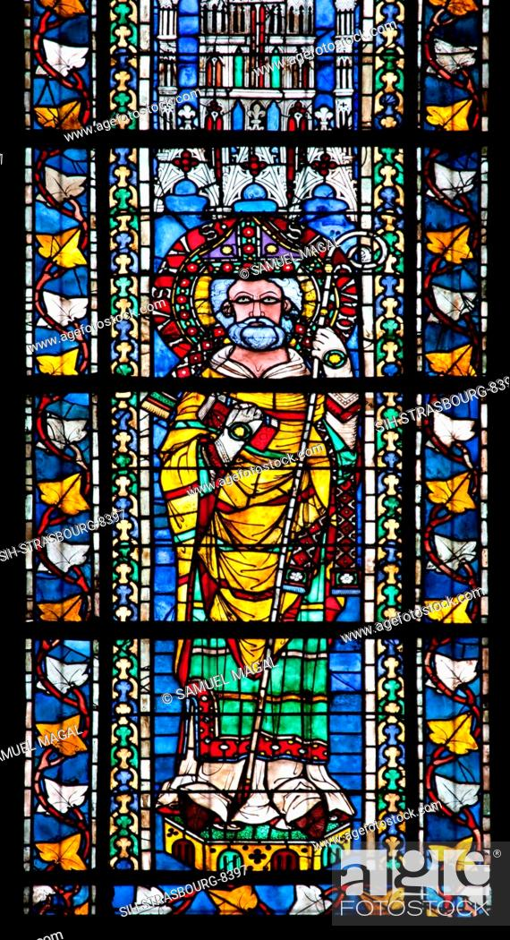 Stock Photo: France, Alsace, Strasbourg, Strasbourg Cathedral, Stained Glass Window, Saint Juste.