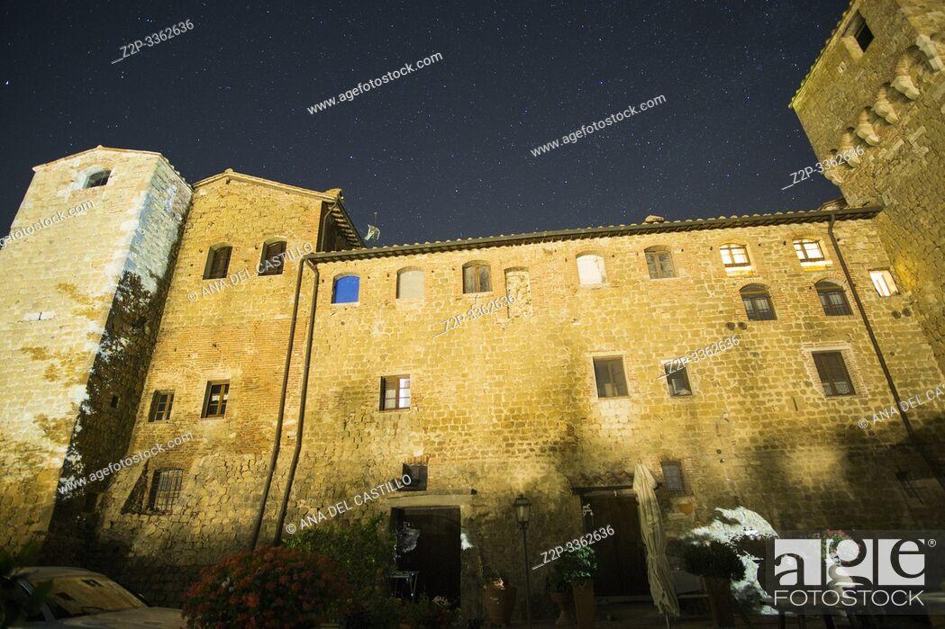 Stock Photo: Pienza Tuscany Italy o July 2019 Agriturismo Castello di Spedaletto at night.