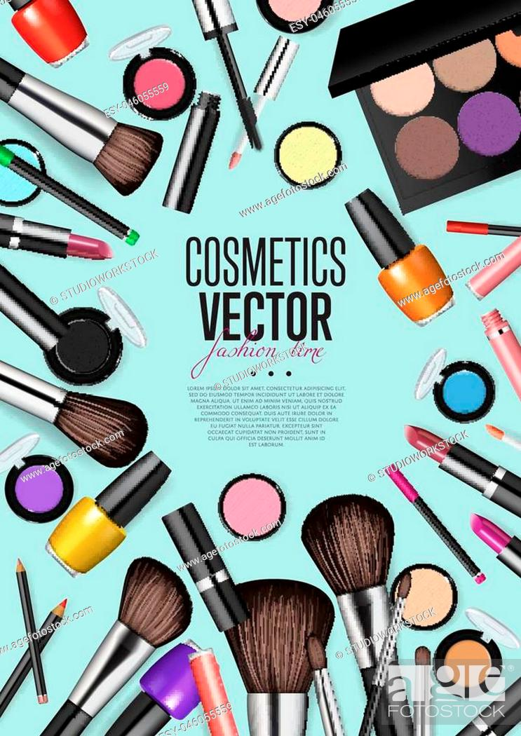 Cosmetics Products Fashion Makeup Banner Brushes Powder Palettes Lipstick Eye Pencil Stock Vector Vector And Low Budget Royalty Free Image Pic Esy 046055559 Agefotostock