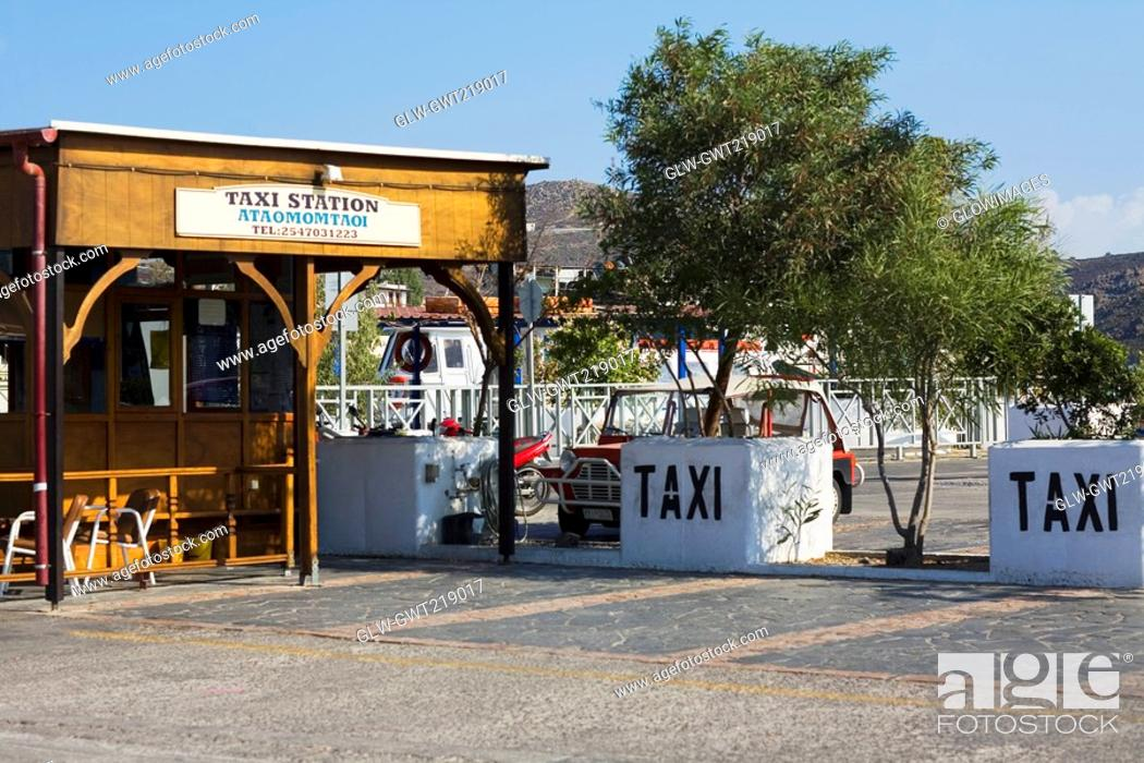 Stock Photo: Taxi stand in a city, Patmos, Dodecanese Islands, Greece.