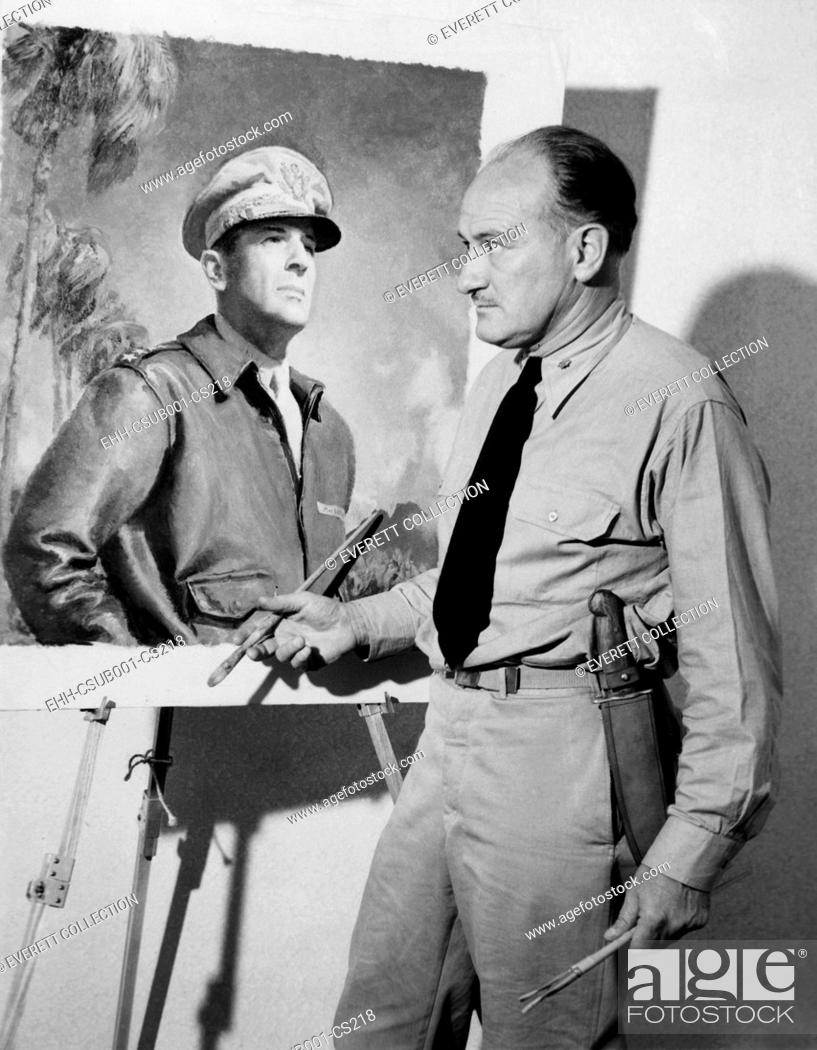 Stock Photo: Artist McClelland Barclay with his portrait of General Douglas MacArthur during World War II. In July 1943 he was killed when his ship was torpedoed in the.