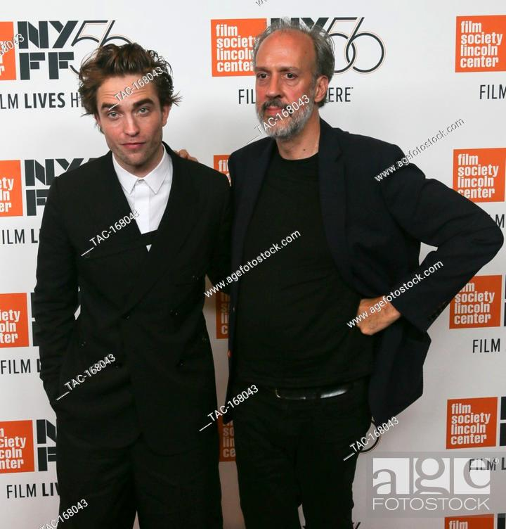 """Stock Photo: NEW YORK - OCT 2: Actor Robert Pattinson (L) and Director of NYFF Kent Jones attend the """"""""High Life"""""""" premiere at Alice Tully Hall on October 2."""