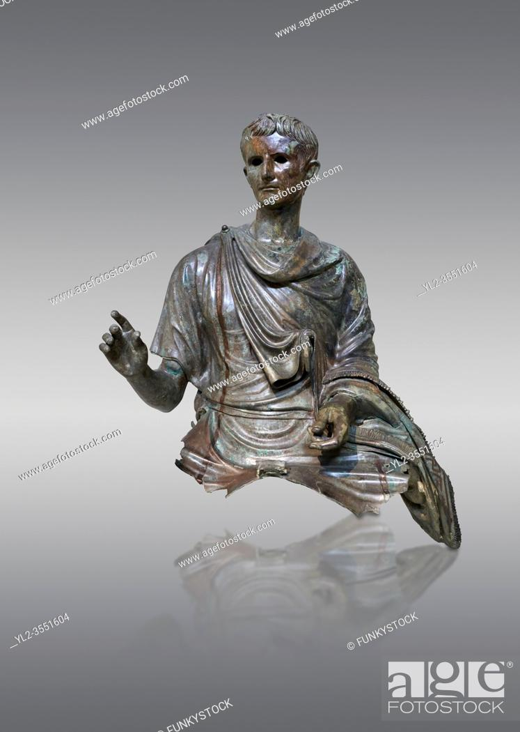 Stock Photo: Roman bronze statue fragment of emperor Augustus, Circa 12-10 BC, found in the Agean sea of the Island of Euboea, Athens National Archaeological Museum.