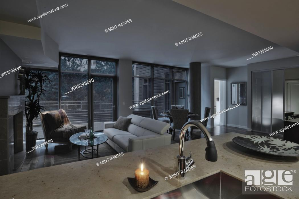 Stock Photo: Open floor plan in luxury highrise apartment.