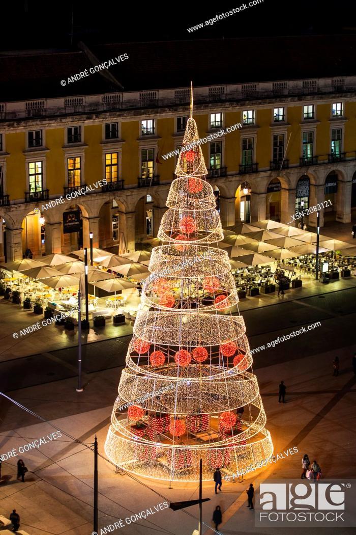Stock Photo: Christmas Lights in the Praca do Comercio, Lisbon, Portugal, Europe.