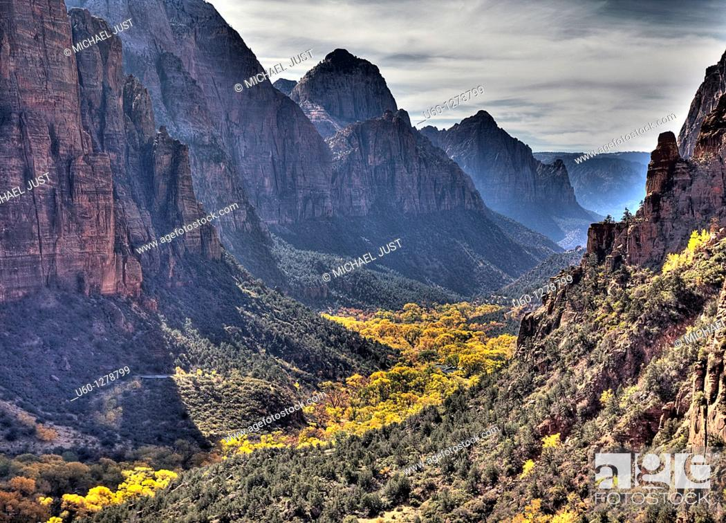 Stock Photo: Zion Canyon during autumn from Angel's Landing at Zion National Park, Utah.