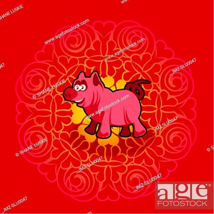 Stock Photo: Chinese new year symbol of pig.