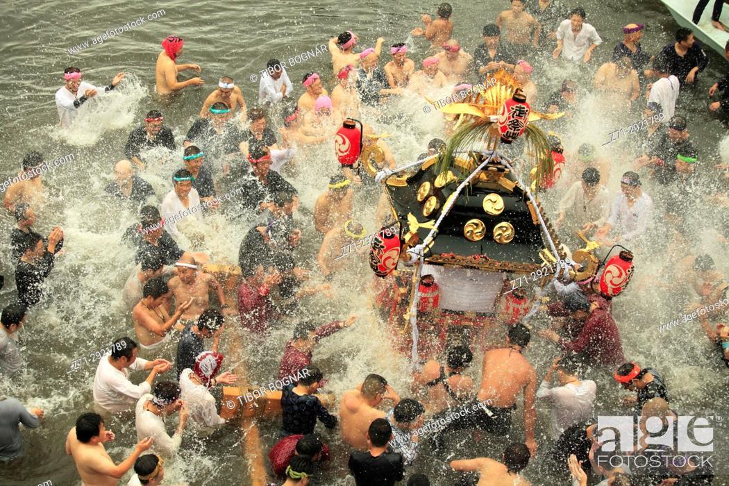 Stock Photo: Japan, Shimodate, Gion Matsuri, festival, people, river, portable shrine, .