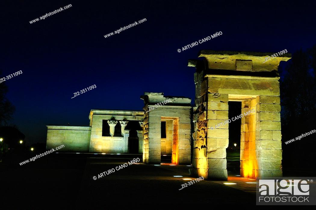 Stock Photo: The Temple of Debod is an ancient Egyptian temple that was dismantled and rebuilt in Madrid, Spain.