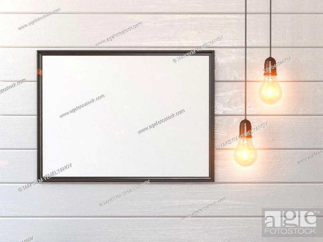 Stock Photo: Mock up white blank poster or photo on wall and vintage light bulbs. 3d illustration.