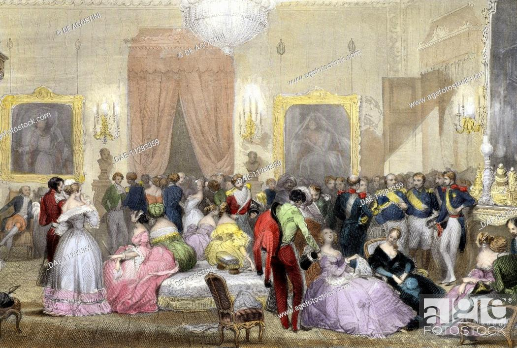 evening in the home of the dukes of orleans 1840 1850 engraving by eugene louis lami 1800. Black Bedroom Furniture Sets. Home Design Ideas