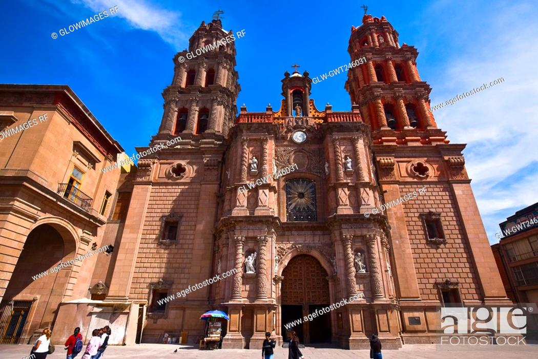 Stock Photo: Low angle view of a cathedral, San Luis Potosi, Mexico.