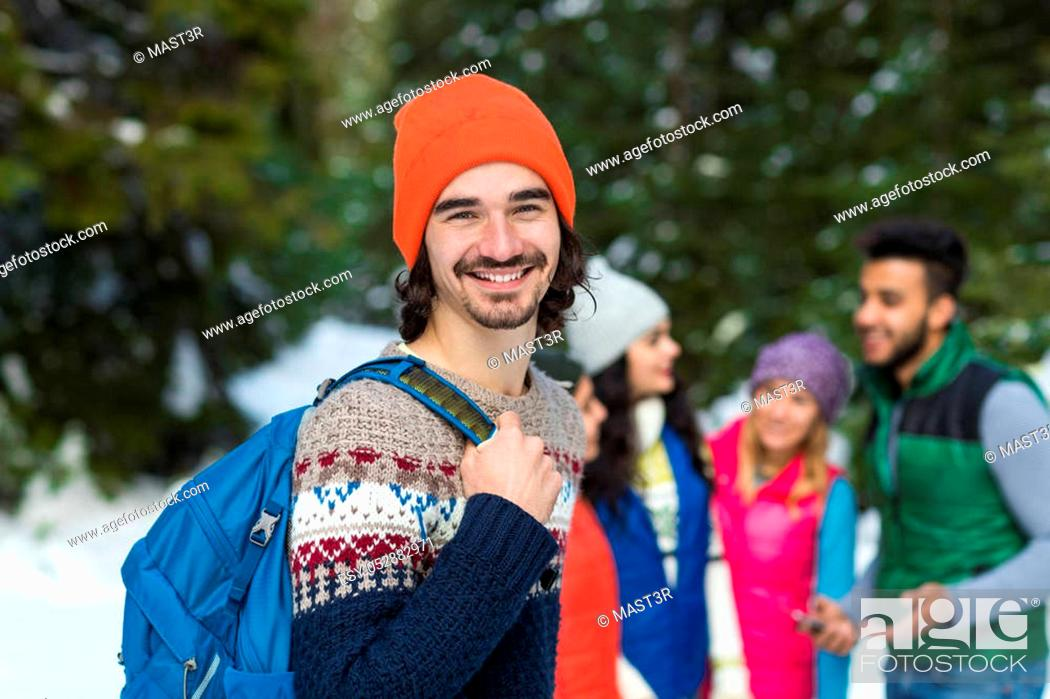 Stock Photo: People Group Snow Forest Happy Smiling Young Friends Walking Outdoor Winter Pine Woods.