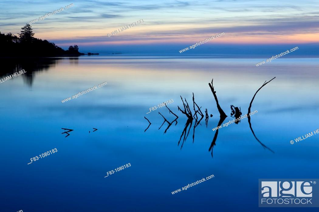 Stock Photo: USA, Oregon, Tillamook County, Tillamook Bay at dusk, August.