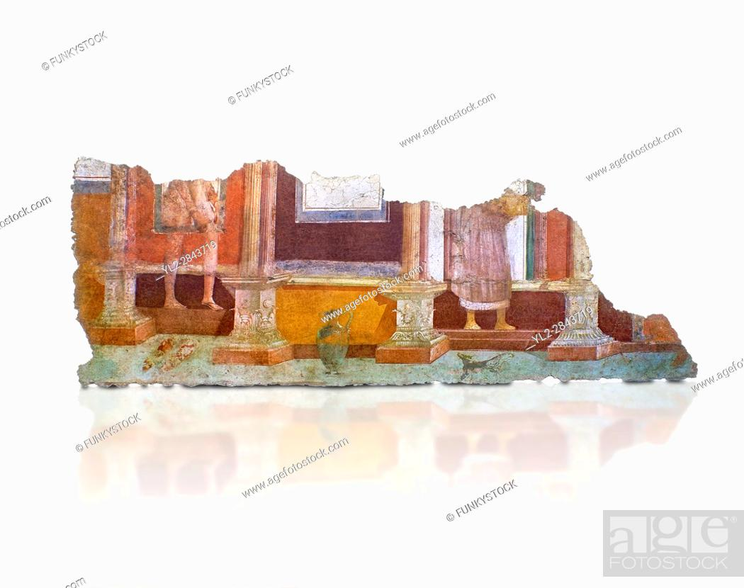 Stock Photo: Roman fresco wall decorations of the Balnea Baths, Rome. Museo Nazionale Romano ( National Roman Museum), Rome, Italy. Against a white background.