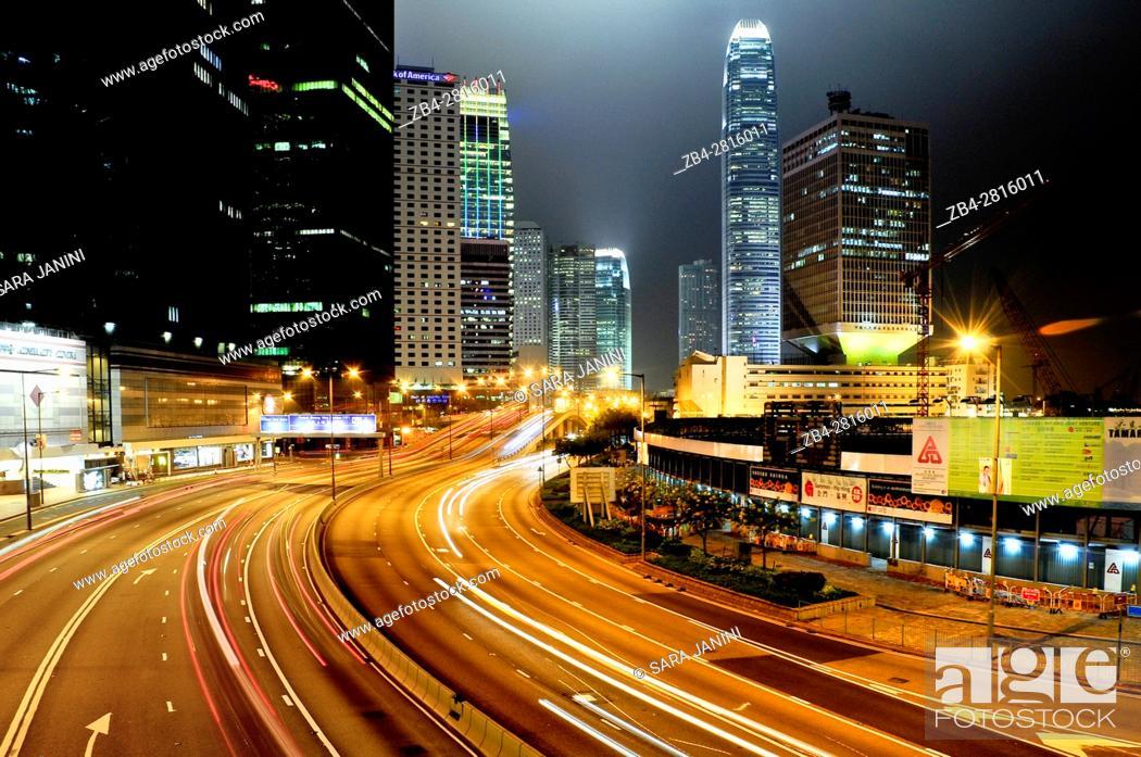 Stock Photo: Night traffic at Causeway Bay and Financial Central District, Hong Kong Island, Hong Kong, China, East Asia.