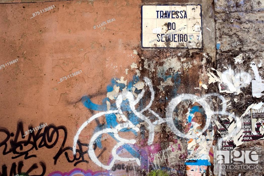 Stock Photo: Lisbon, Portugal, Rua Travessa do Sequeiro.