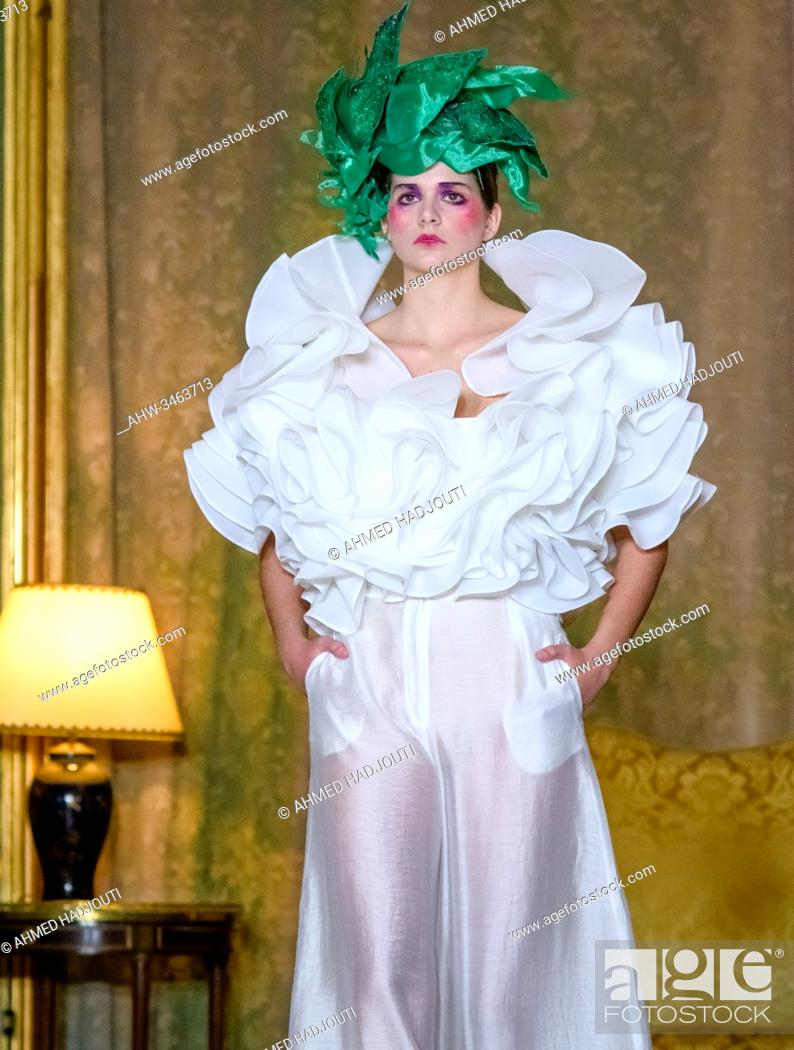Stock Photo: PARIS, FRANCE - JANUARY 23: A model walks the runway during the Juana Martin Show during the Paris Fashion Week on January 23, 2020 in Paris, France.