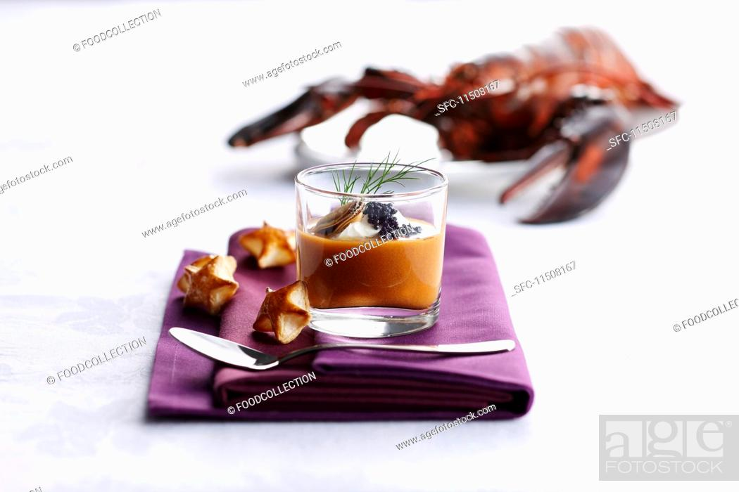 Stock Photo: Cream of lobster soup with caviar.