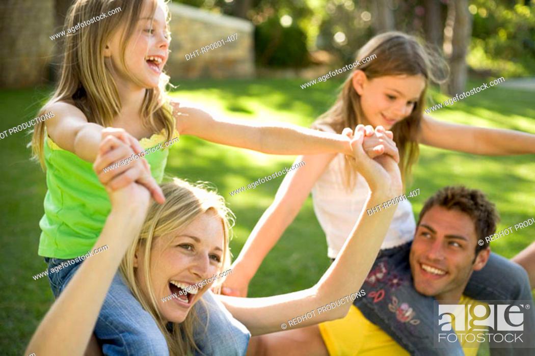 Stock Photo: Family in park.