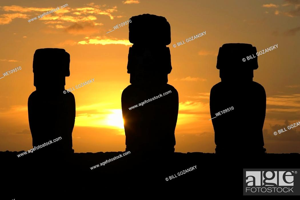 Stock Photo: Ahu Tongariki Moai at sunrise - Easter Island, Chile.
