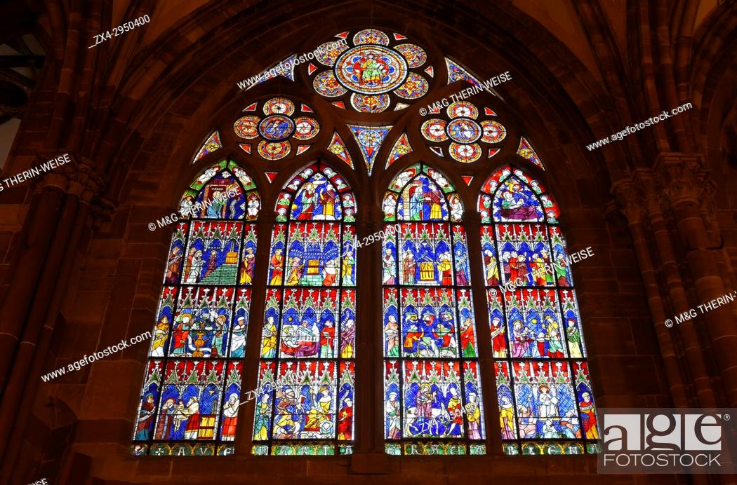 Stock Photo: Cathedral Notre-Dame, Interior, Stained-Glass windows, Strasbourg, Alsace, Bas-Rhin Department, France.