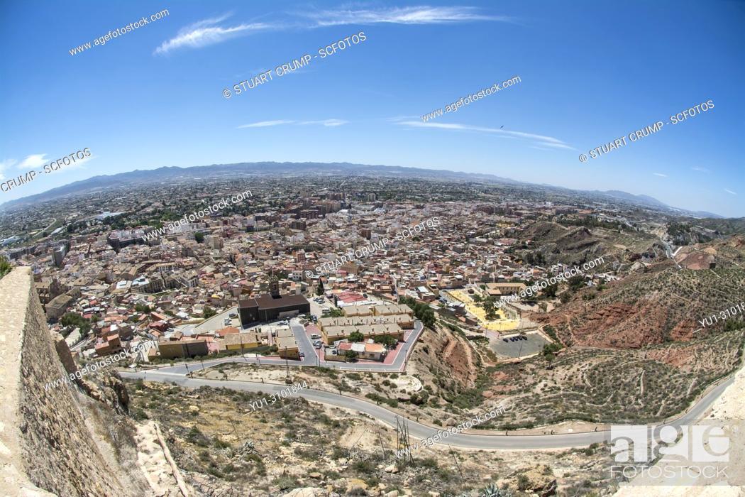 Stock Photo: Fisheye view over the Spanish city of Lorca in Murcia Spain.