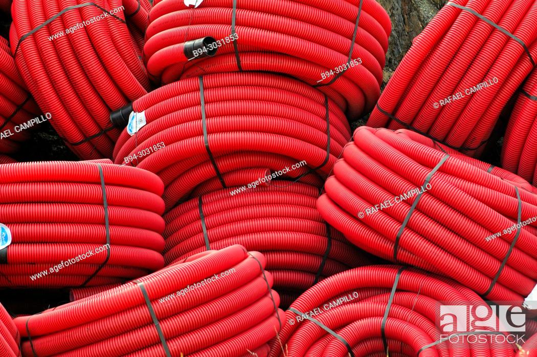 Stock Photo: Red plastic tubes.