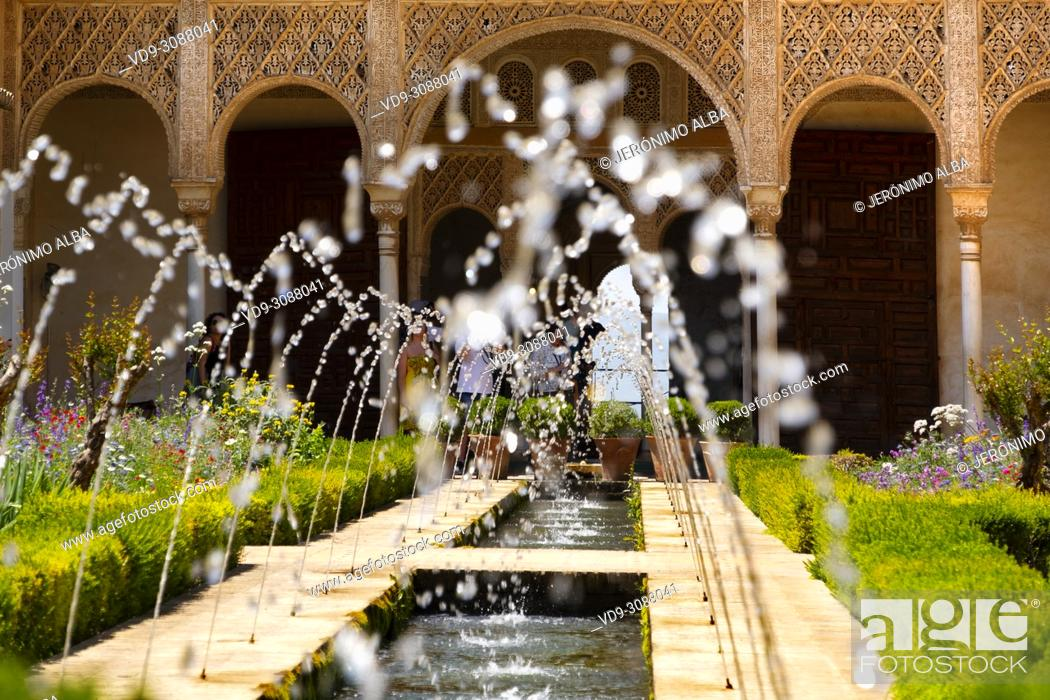 Stock Photo: Patio de la Acequia, Generalife Palace gardens. Alhambra, UNESCO World Heritage Site. Granada City. Andalusia, Southern Spain Europe.