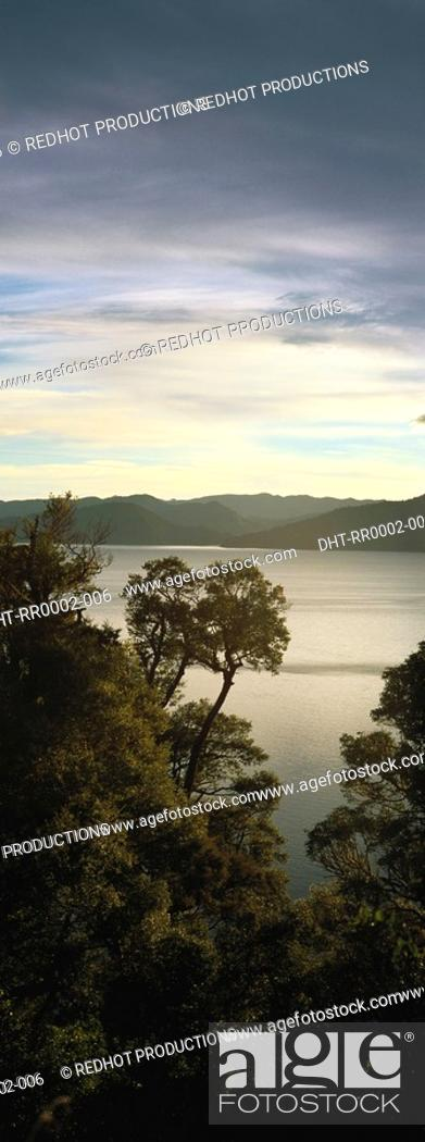 Stock Photo: Landscape view with body of water.