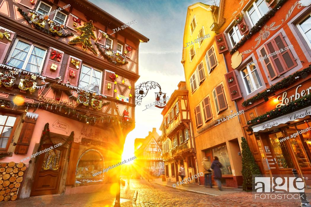 Stock Photo: Christmastime in Colmar. Haut- Rhin. Alsace. France.