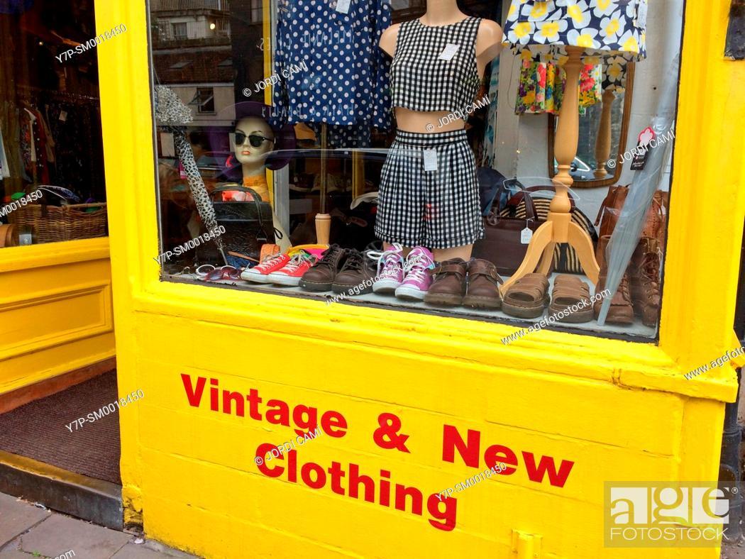Stock Photo: Vintage & New Clothig shop, Walcot Street. Bath. Somerset. England. United Kingdom.