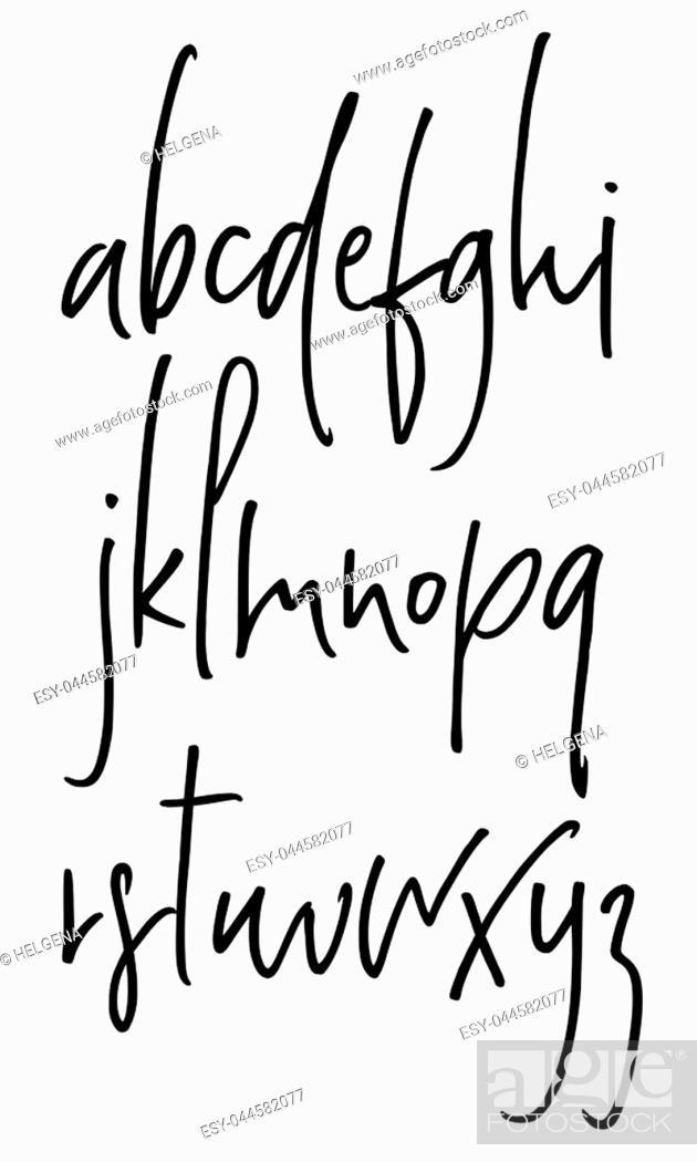 Stock Vector: Ballpen handwritten vector alphabet. Modern calligraphy, lowercase letters. Vector illustration.