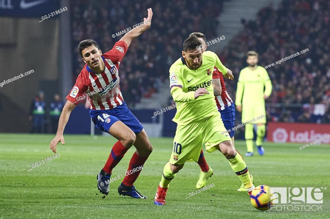 Stock Photo: Lionel Messi (forward; Barcelona) before La Liga match between Atletico de Madrid and F.C. Barcelona at Wanda Metropolitano on November 24, 2018 in Madrid.