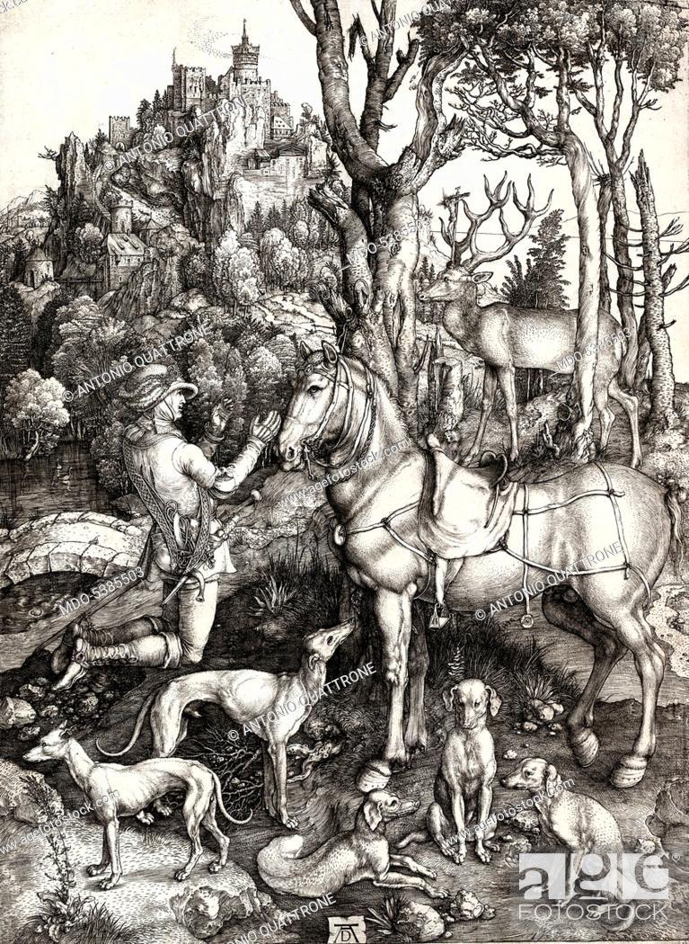 Imagen: Saint Eustace, by Albrecht Durer, 1501, 16th Century, engraving on laid paper.