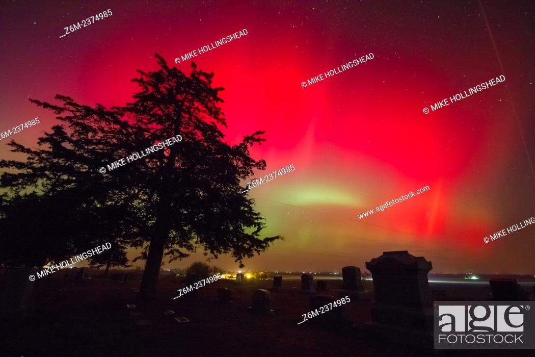 Stock Photo: Intense auroras stretch far south over Nebraska. This particular outburst was seen as far south as the US gulf states.
