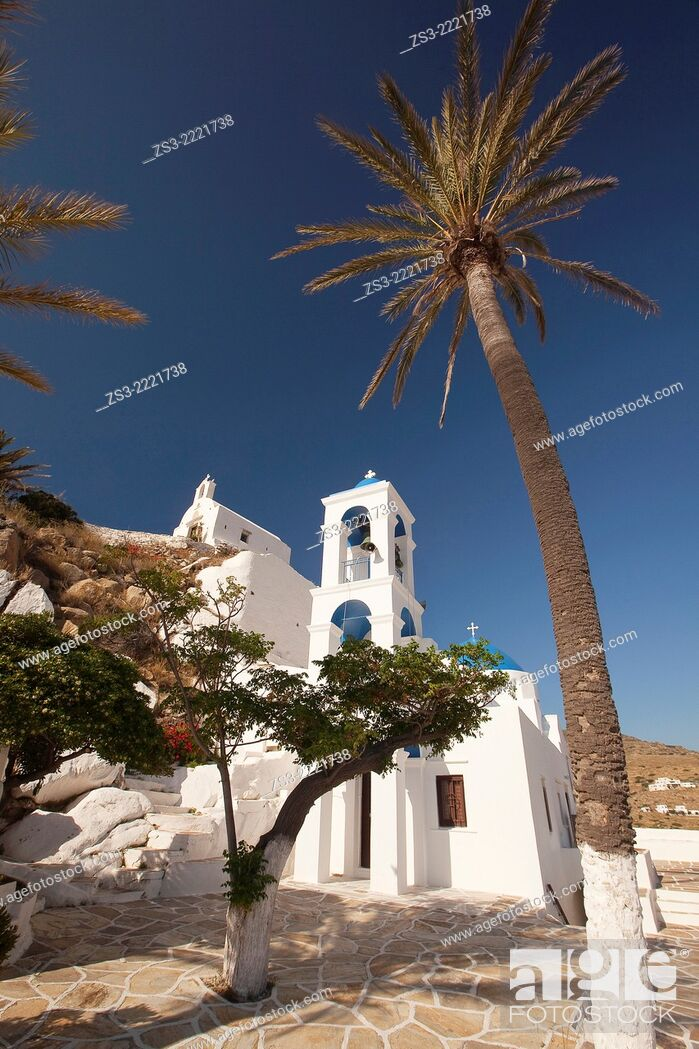 Stock Photo: Blue domed church of Panagia Gremiotissa in town center Chora, Ios, Cyclades Islands, Greek Islands, Greece, Europe.