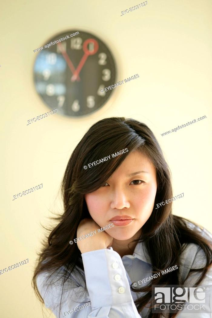 Stock Photo: Young woman, close-up.