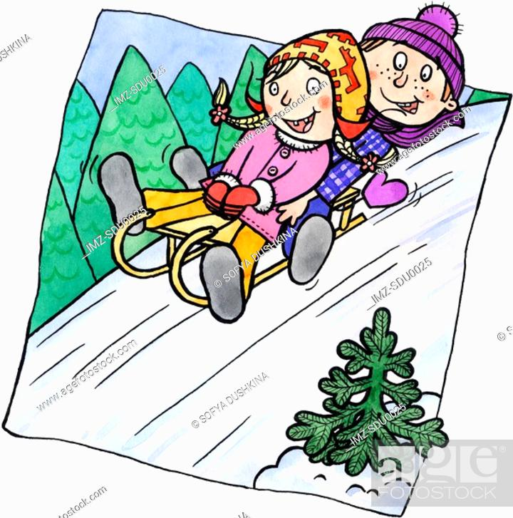 Stock Photo: Two children sledding down a hill.