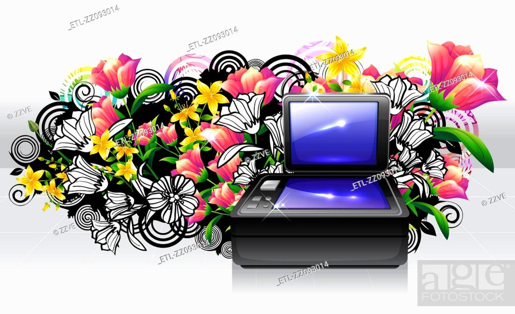 Stock Photo: Flat Bed Scanner with flora design.