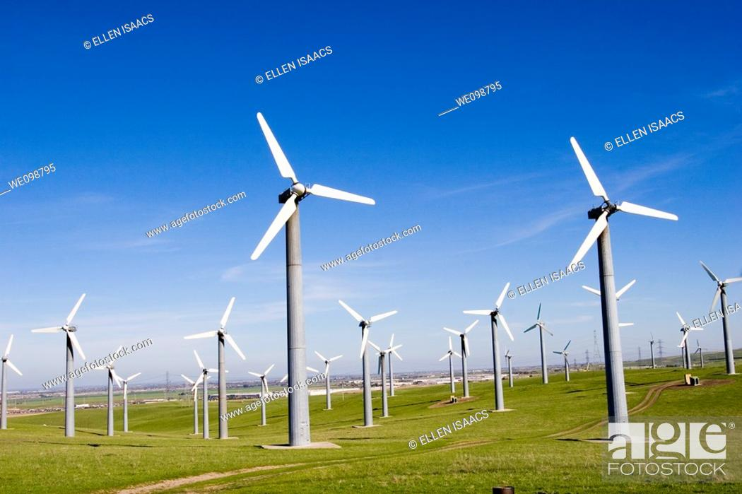 Stock Photo: Many windmills in a field in Livermore, California.