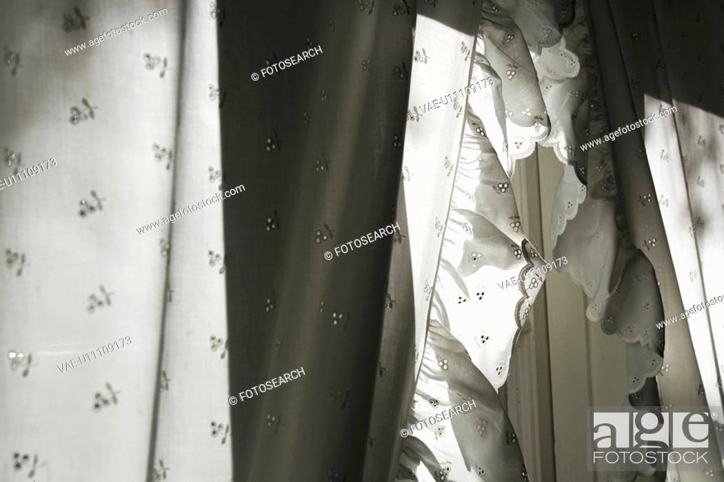 Stock Photo: Day, Arrangement, Curtains, Cloth, Black And White, Appearance.