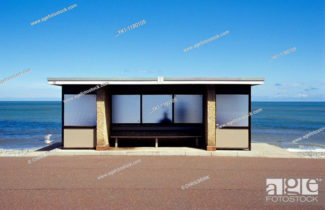 Stock Photo: Seaside shelter in Llandudno North Wales United Kingdom.