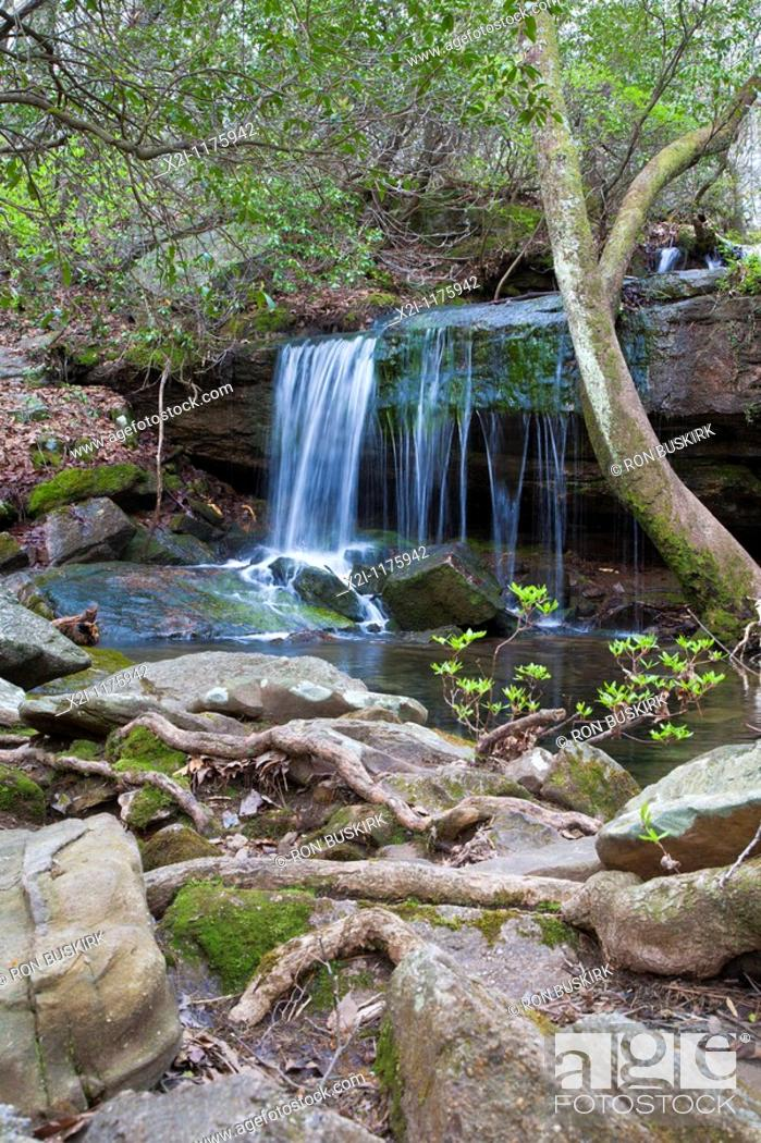 Stock Photo: Fort Payne, AL - Apr 2009 - Waterfall in DeSoto State Park at Fort Payne, Alabama.