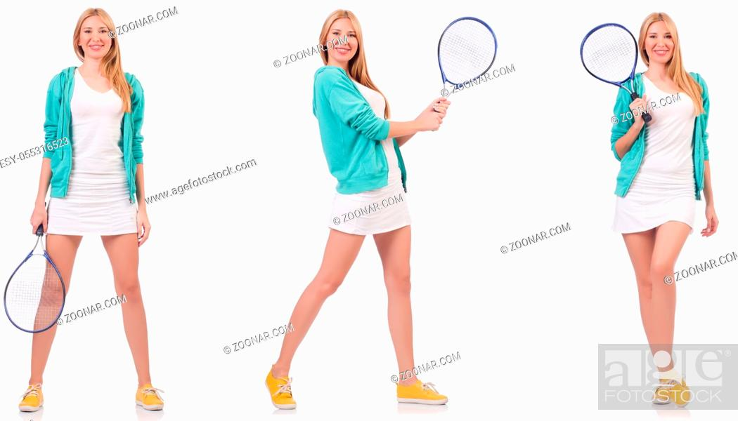 Photo de stock: Young beautiful lady playing tennis isolated on white.