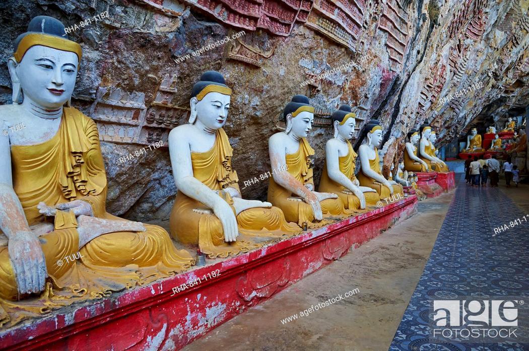 Stock Photo: Statues of the Buddha at the Kawgun Buddhist Cave, near Hpa-An, Karen (Kayin) State, Myanmar (Burma), Asia.