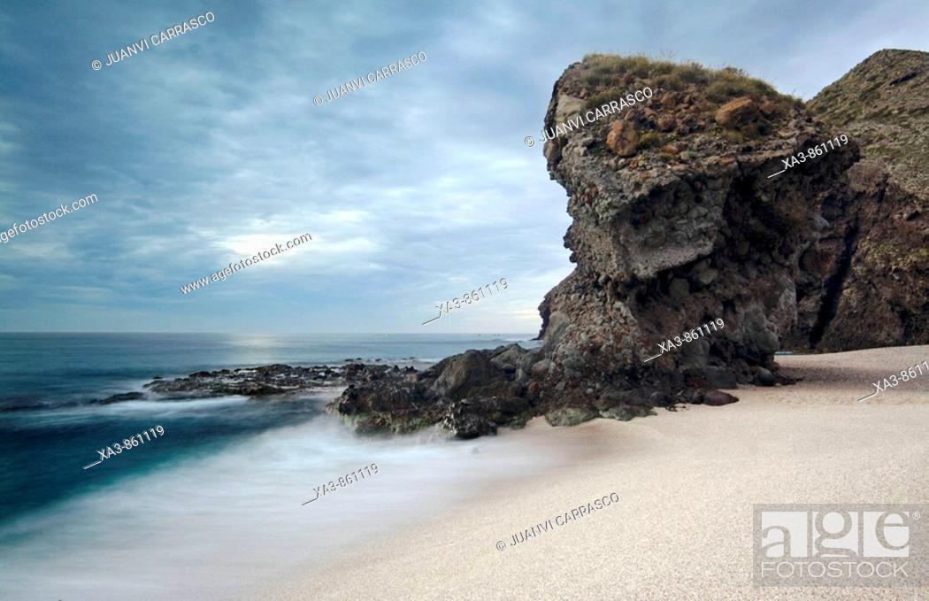 Stock Photo: Los Muertos beach  Cabo de Gata-Nijar Biosphere Reserve, Almeria province, Andalucia, Spain.